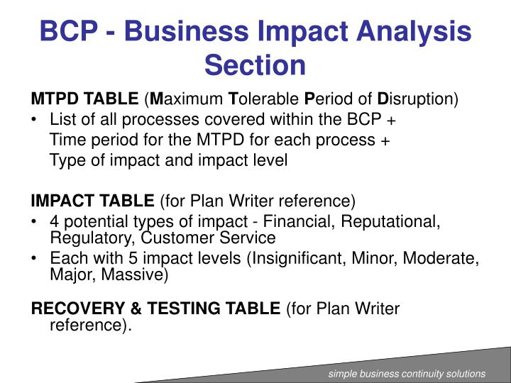 BCP - Business Impact Analysis Section