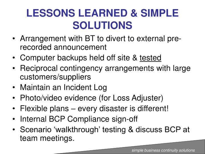 LESSONS LEARNED & SIMPLE SOLUTIONS