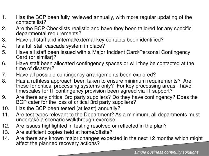 Has the BCP been fully reviewed annually, with more regular updating of the contacts list?