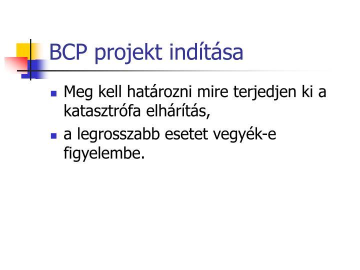 BCP projekt indítása