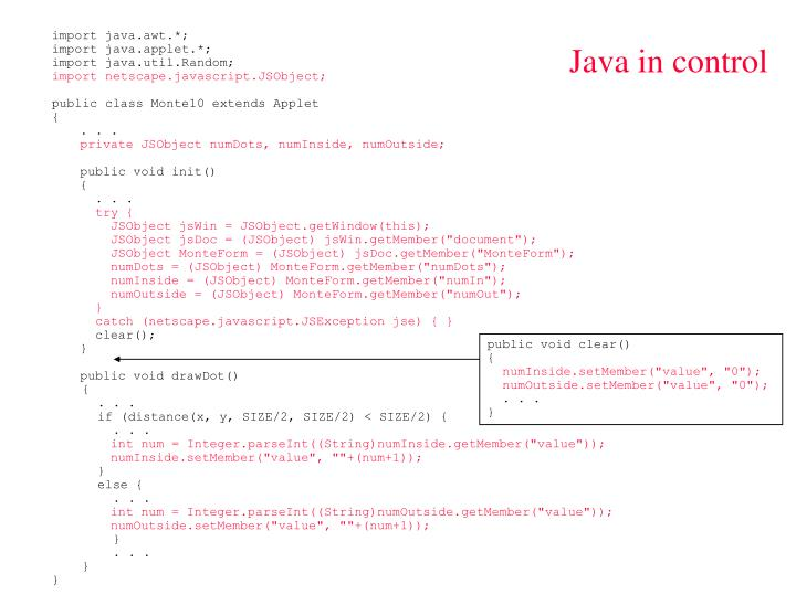 Java in control