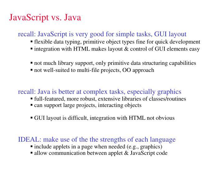 Javascript vs java