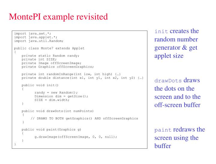 MontePI example revisited