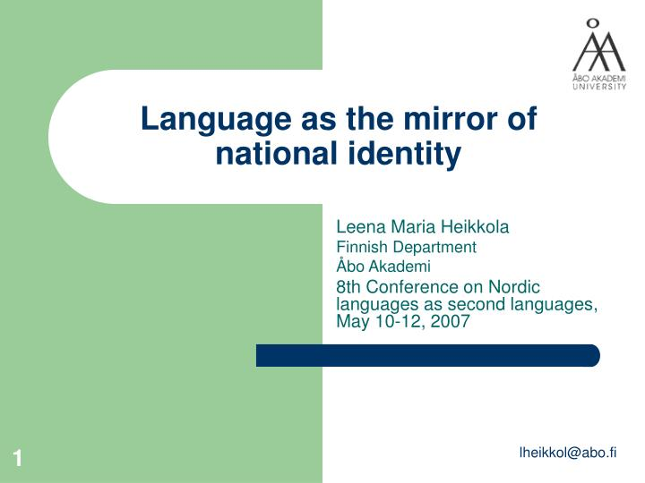 language as the mirror of national identity n.
