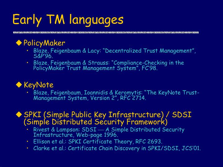 Early TM languages
