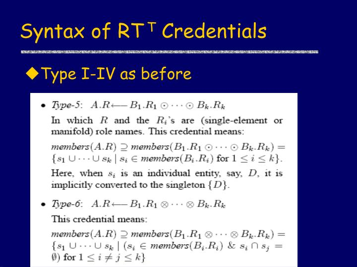 Syntax of RT