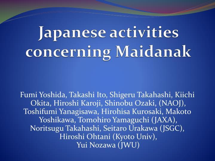 japanese activities concerning maidanak n.