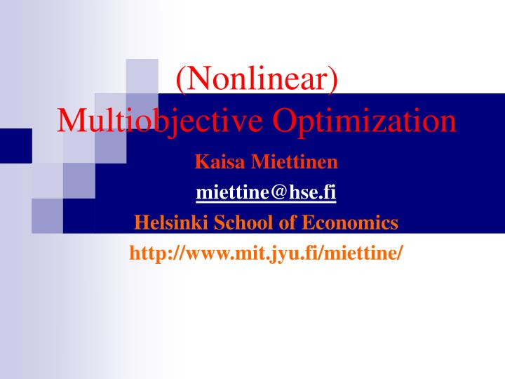 nonlinear multiobjective optimization n.