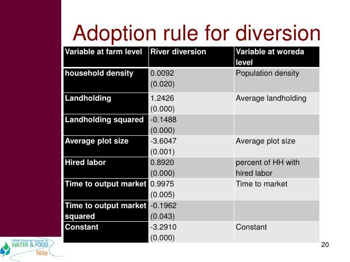 Adoption rule for diversion