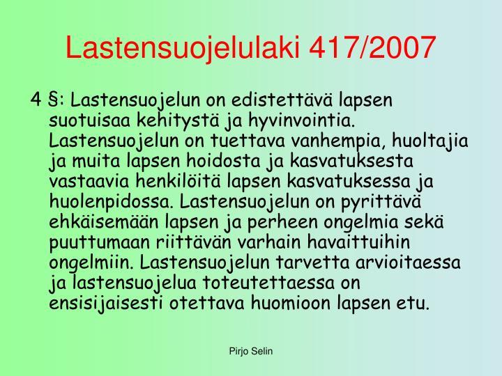 Lastensuojelulaki 417 2007