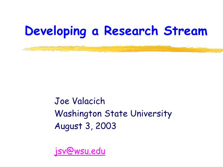 developing a research stream n.