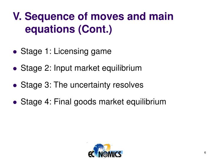 V. Sequence of moves and main equations (Cont.)