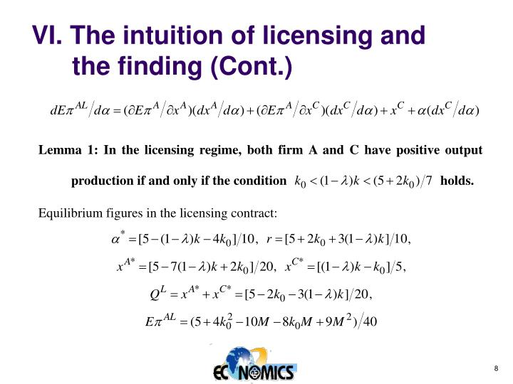 VI. The intuition of licensing and the finding (Cont.)