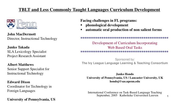 Ppt Tblt And Less Commonly Taught Languages Curriculum Development