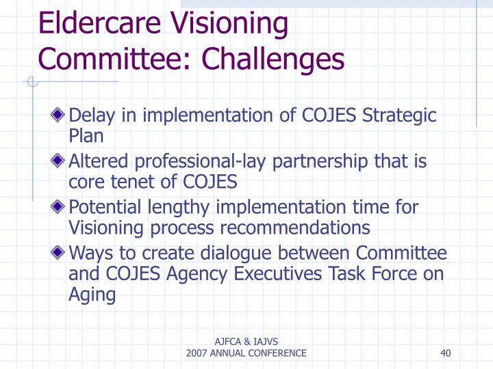 Eldercare Visioning Committee: Challenges