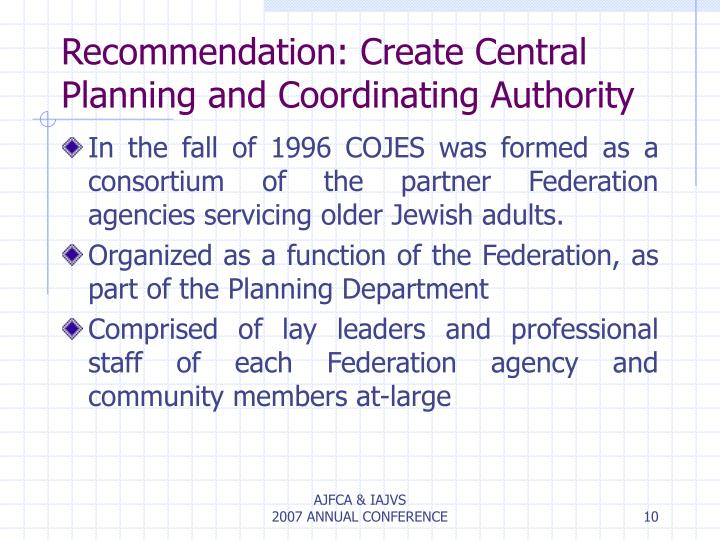 Recommendation: Create Central Planning and Coordinating Authority