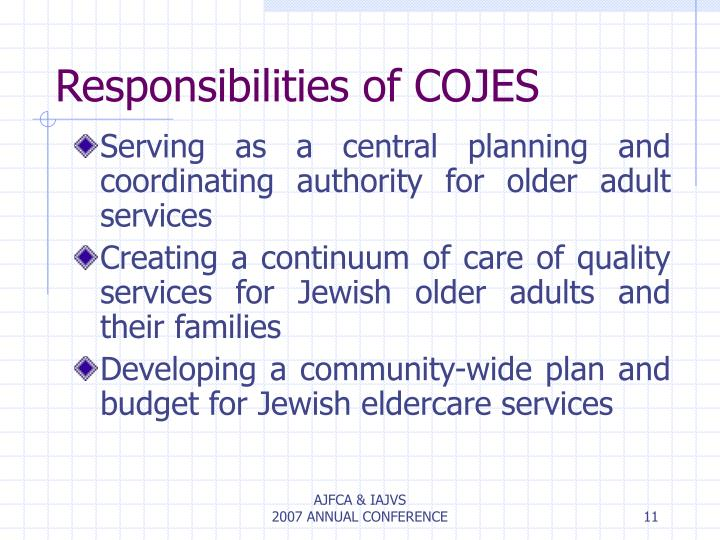 Responsibilities of COJES