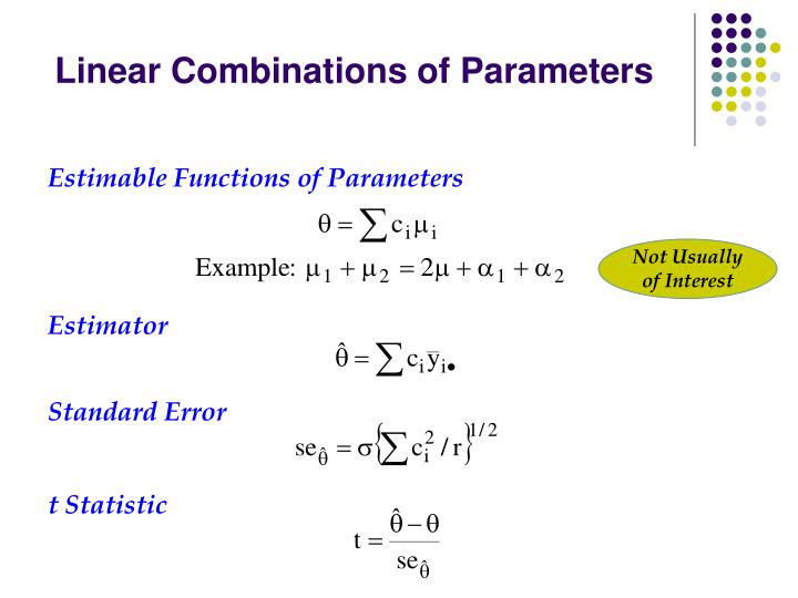 Linear Combinations of Parameters
