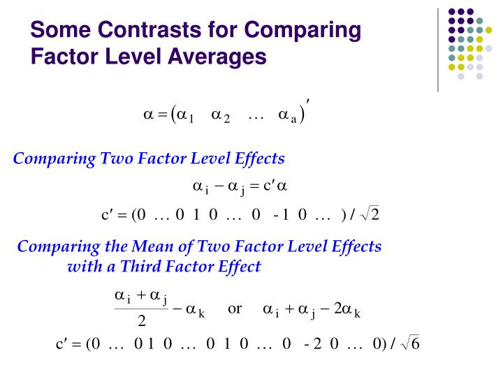 Comparing the Mean of Two Factor Level Effects