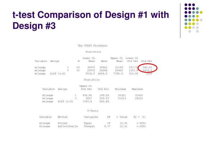 t-test Comparison of Design #1 with Design #3