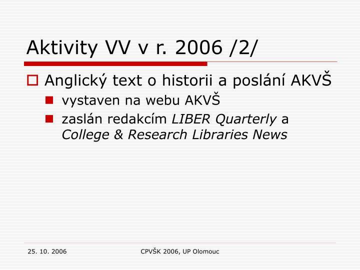 Aktivity VV v r. 2006 /2/
