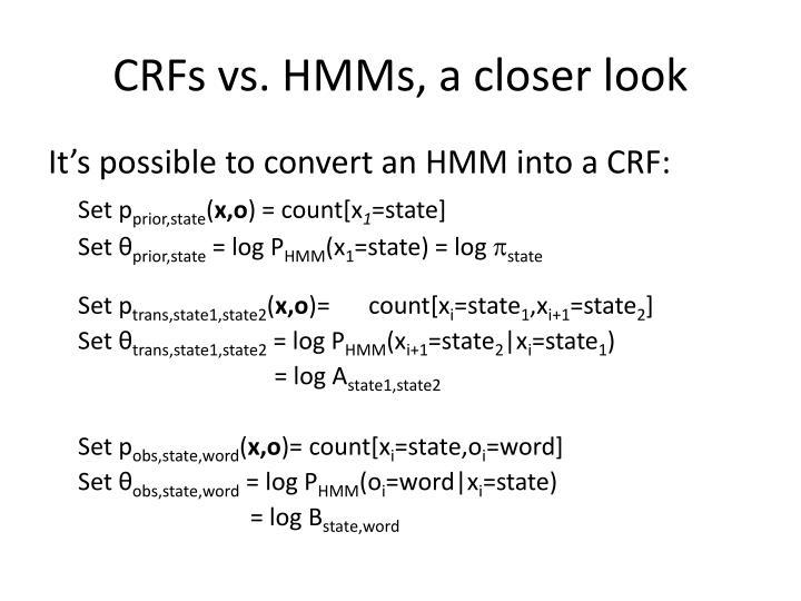 CRFs vs. HMMs, a closer look