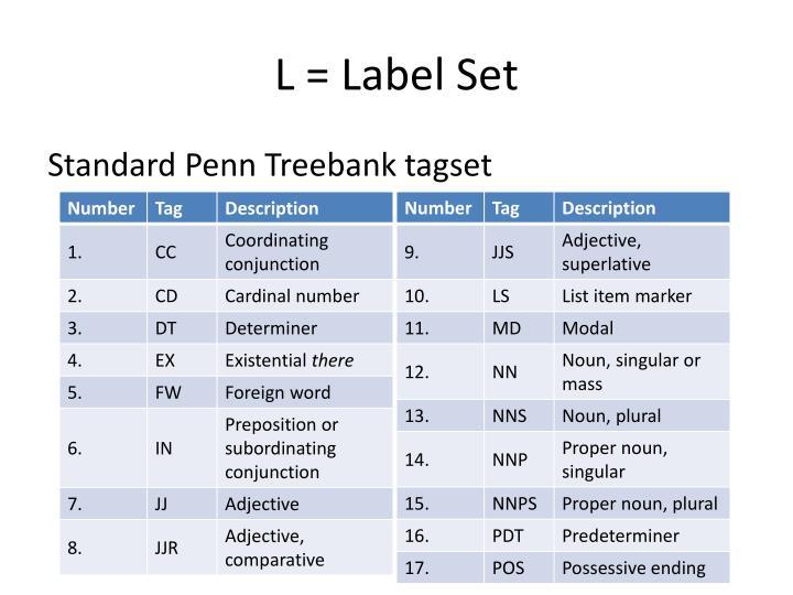L = Label Set