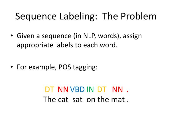 Sequence labeling the problem