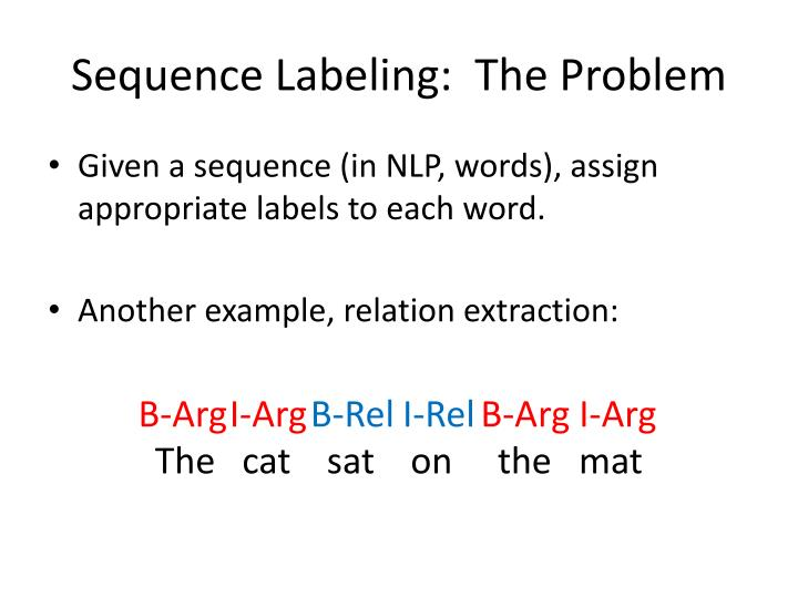 Sequence Labeling:  The Problem