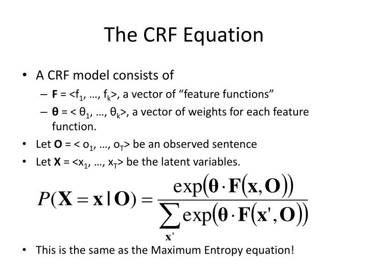 The CRF Equation