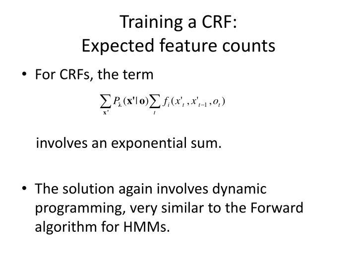Training a CRF: