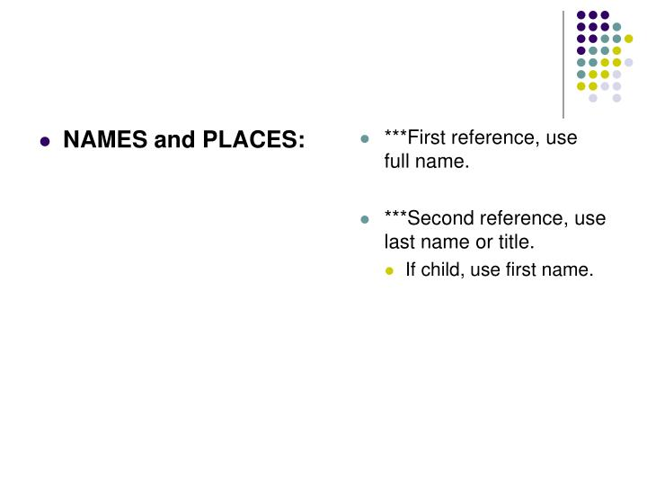 NAMES and PLACES: