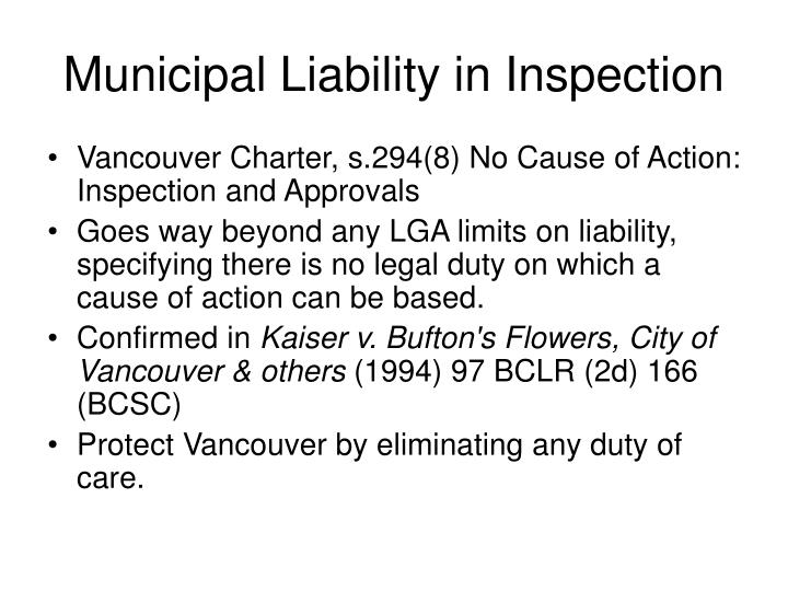 Municipal Liability in Inspection