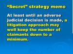 secret strategy memo