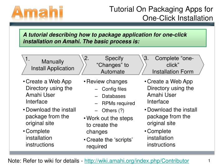 tutorial on packaging apps for one click installation