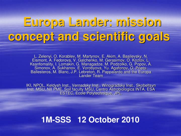 europa lander mission concept and scientific goals n.