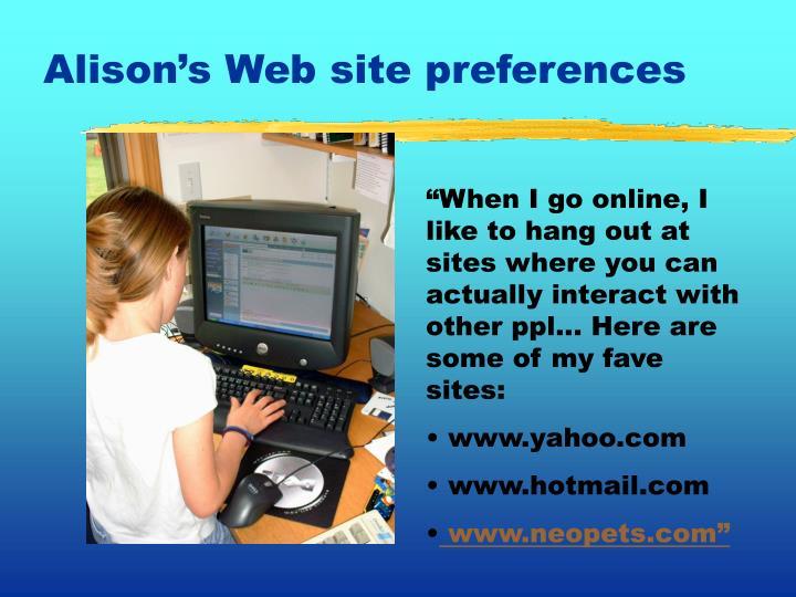 Alison's Web site preferences