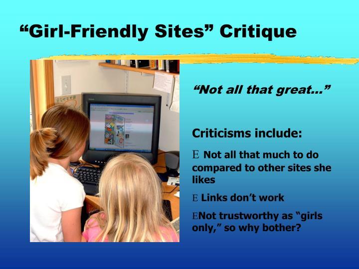 """""""Girl-Friendly Sites"""" Critique"""