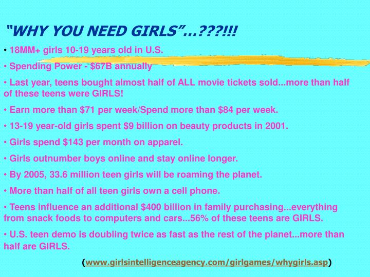 """""""WHY YOU NEED GIRLS""""…???!!!"""