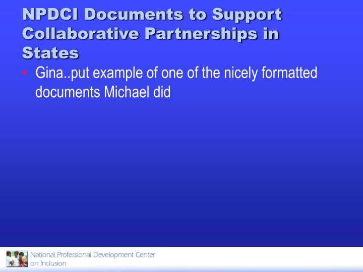 NPDCI Documents to Support Collaborative Partnerships in States