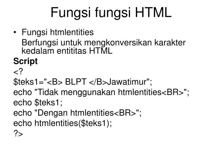 Fungsi fungsi HTML