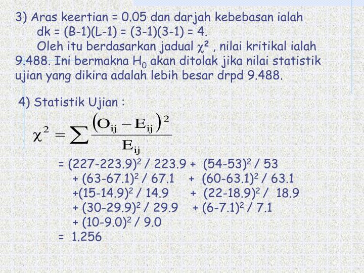 3) Aras keertian = 0.05 dan darjah kebebasan ialah