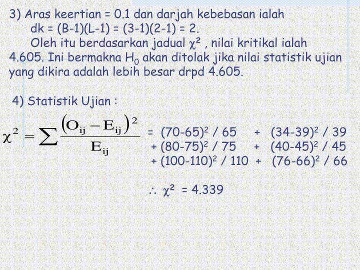 3) Aras keertian = 0.1 dan darjah kebebasan ialah