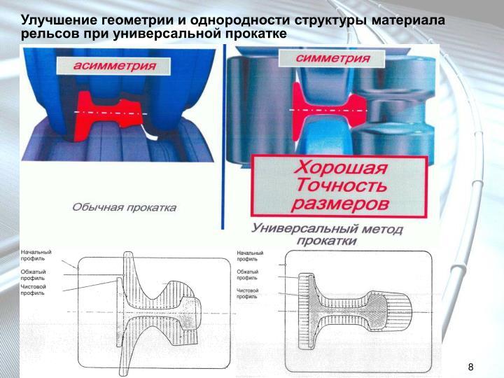 Улучшение геометрии и однородности структуры материала рельсов при универсальной прокатке