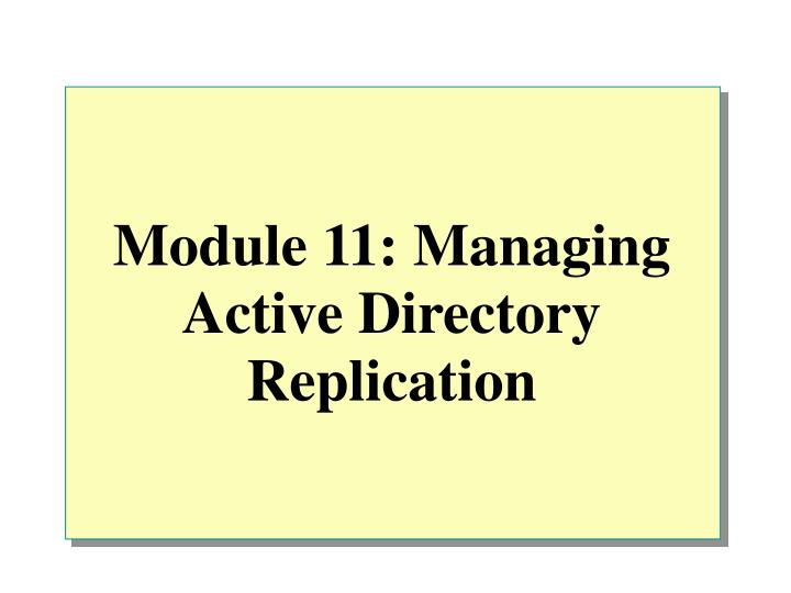 module 11 managing active directory replication n.