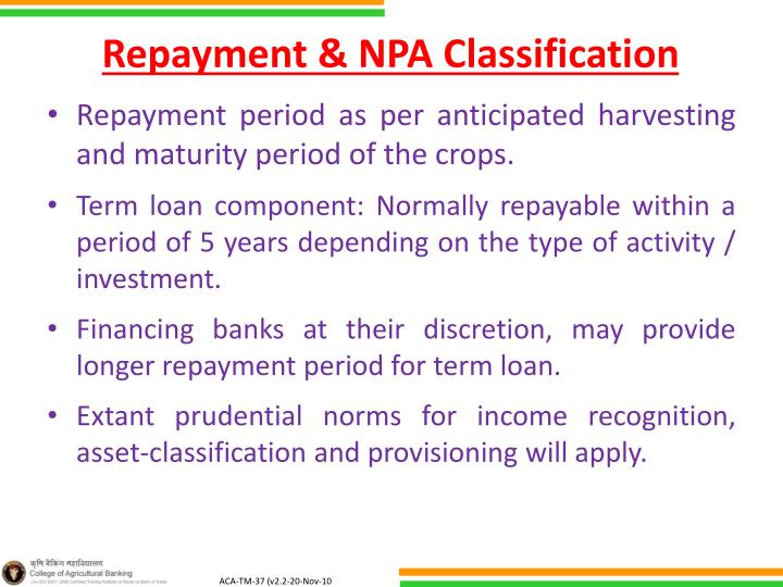 Repayment & NPA Classification