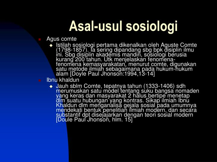 Asal-usul sosiologi