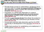 gfm cpi high level objectives for the july 2010 c2 data pilot phase 4b event