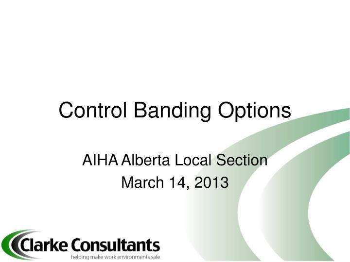control banding options n.