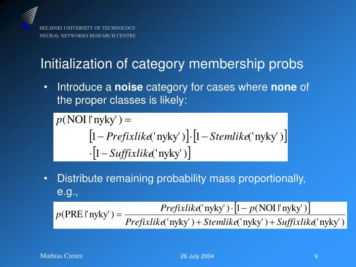 Initialization of category membership probs